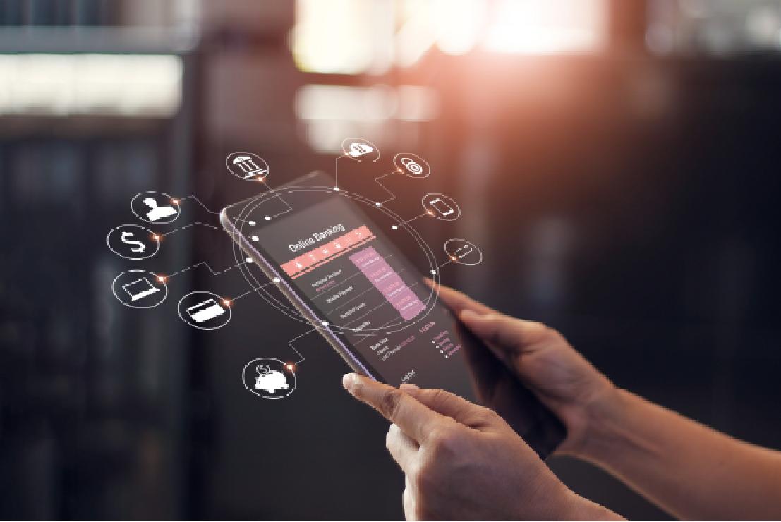 Digital banking on tablet