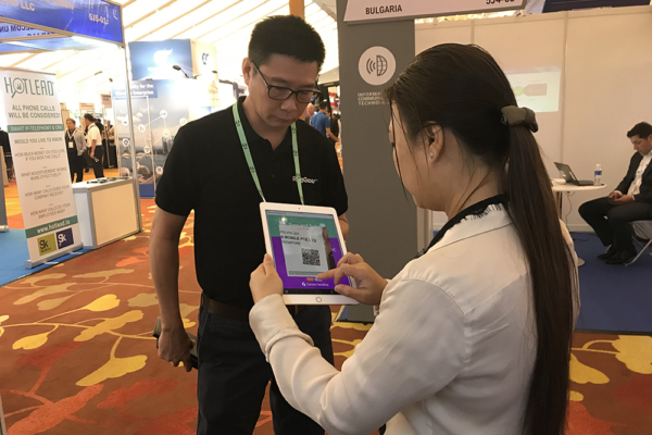 Visitor at FORCS booth, ConnecTechAsia 2018
