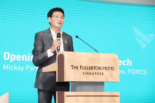 Mickey Park, Vice-President of Global Sales, giving a speech at FORCS Fintech Conference 2018
